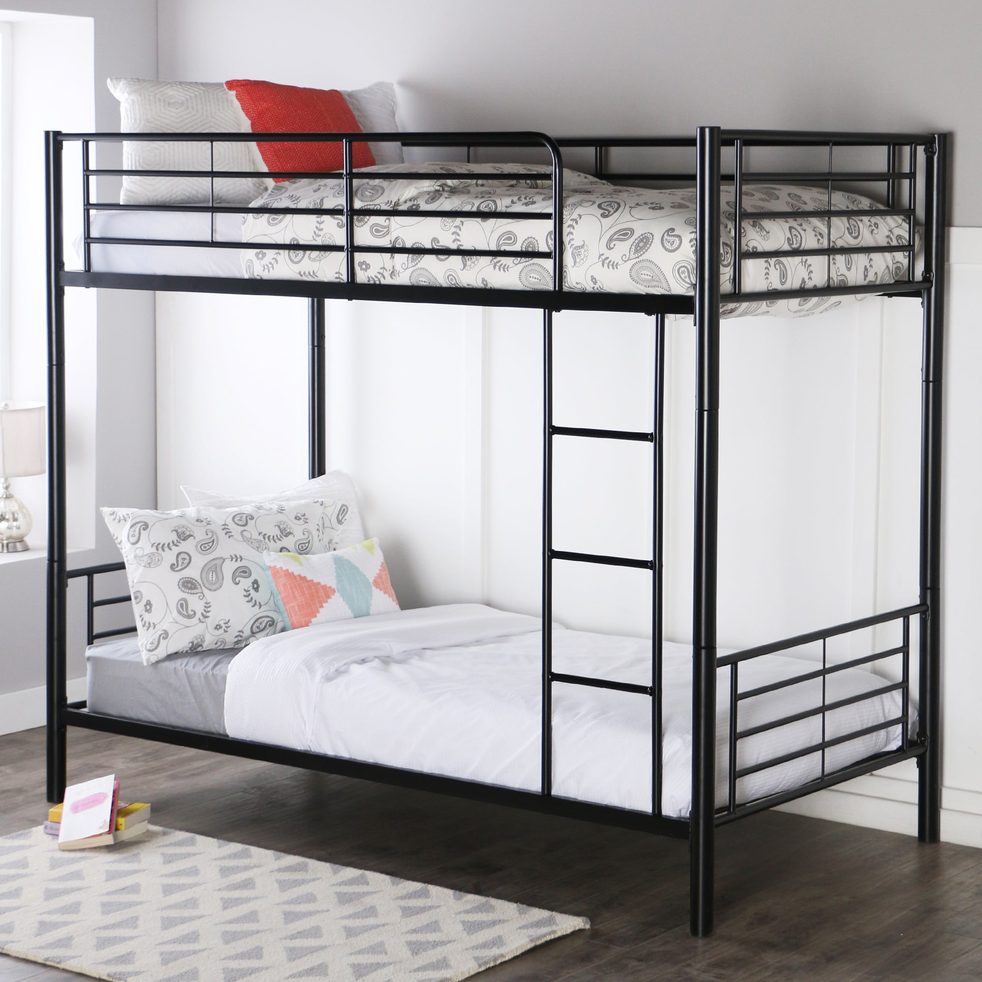 Premium Metal Twin over Twin Bunk Bed - Black