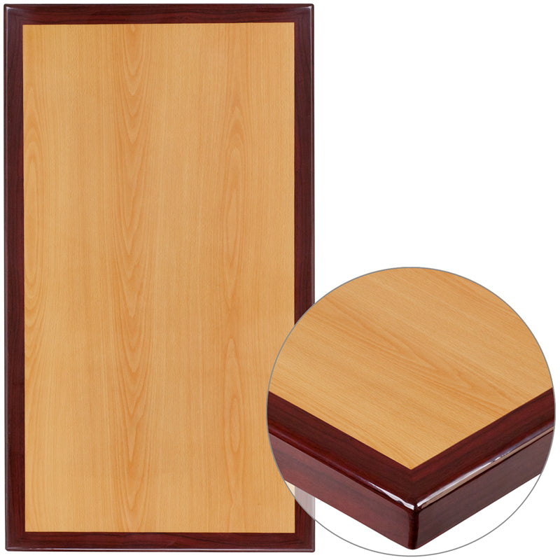 30'' x 48'' 2-Tone High-Gloss Cherry / Mahogany Resin Table Top with 2'' Thick Drop-Lip