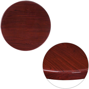 24'' Round High-Gloss Mahogany Resin Table Top with 2'' Thick Drop-Lip