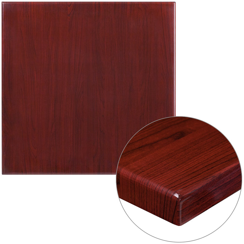 30'' Square High-Gloss Mahogany Resin Table Top with 2'' Thick Drop-Lip