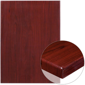30'' x 42'' High-Gloss Mahogany Resin Table Top with 2'' Thick Drop-Lip