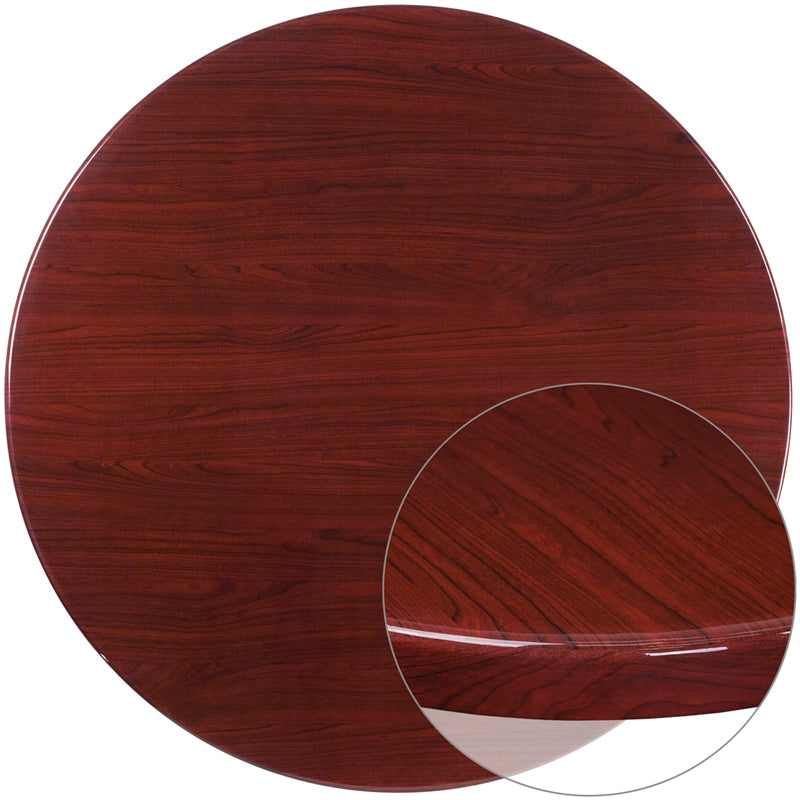 48'' Round High-Gloss Mahogany Resin Table Top with 2'' Thick Drop-Lip