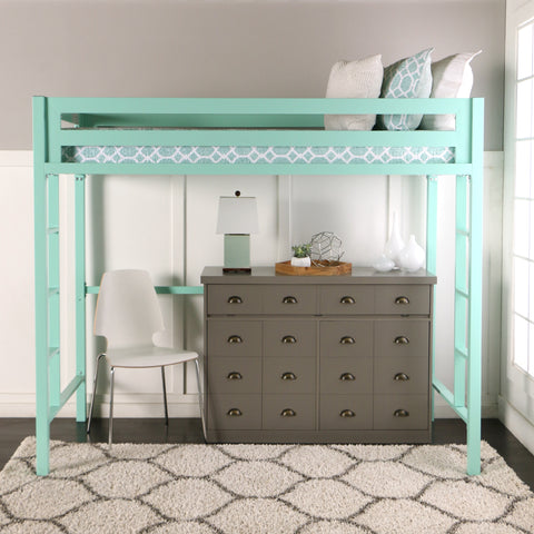 Premium Deluxe Twin Metal Loft Bed - Mint