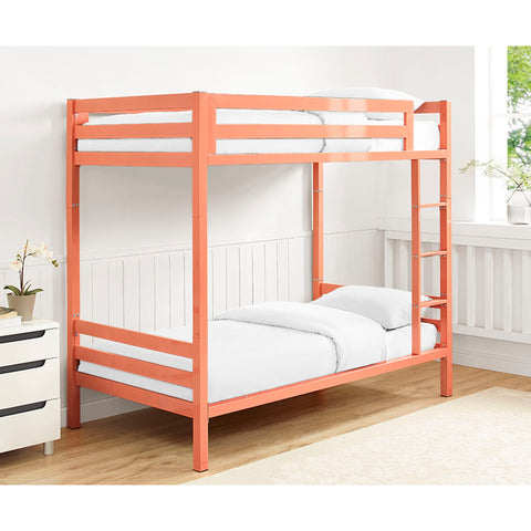 Premium Deluxe Twin over Twin Metal Bunk Bed - Coral