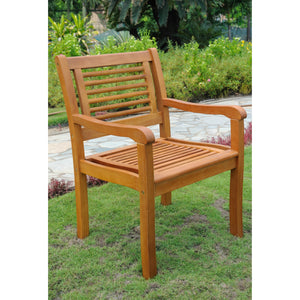 Royal Tahiti Bay Harbor Yellow Balau Hardwood Outdoor Arm Chairs (Set of 2) - Dark Honey