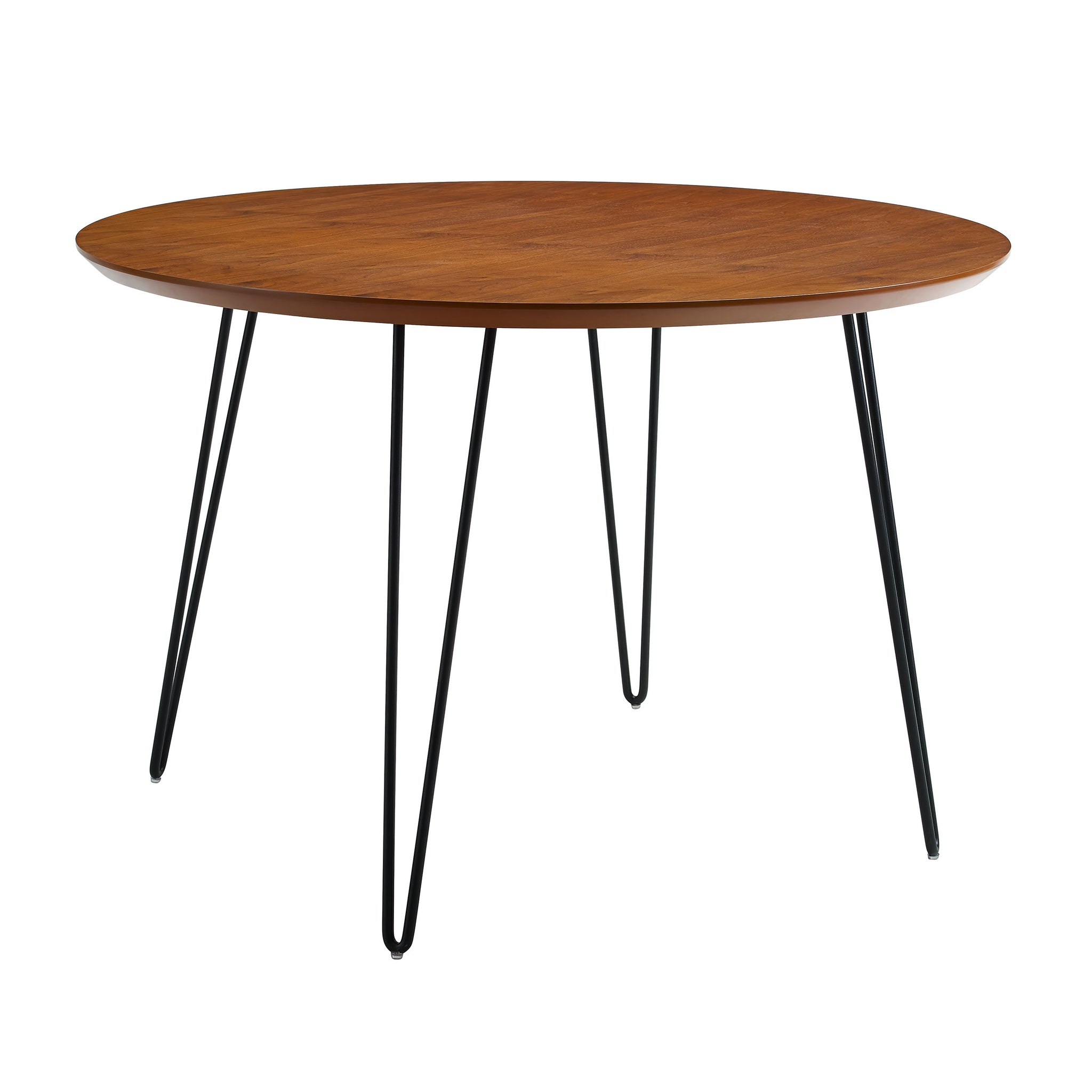 "46"" Round Hairpin Leg Dining Table - Walnut"