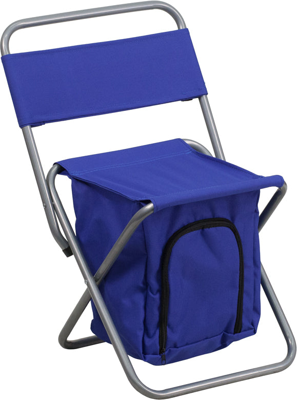 Folding Camping Chair with Insulated Storage in Blue