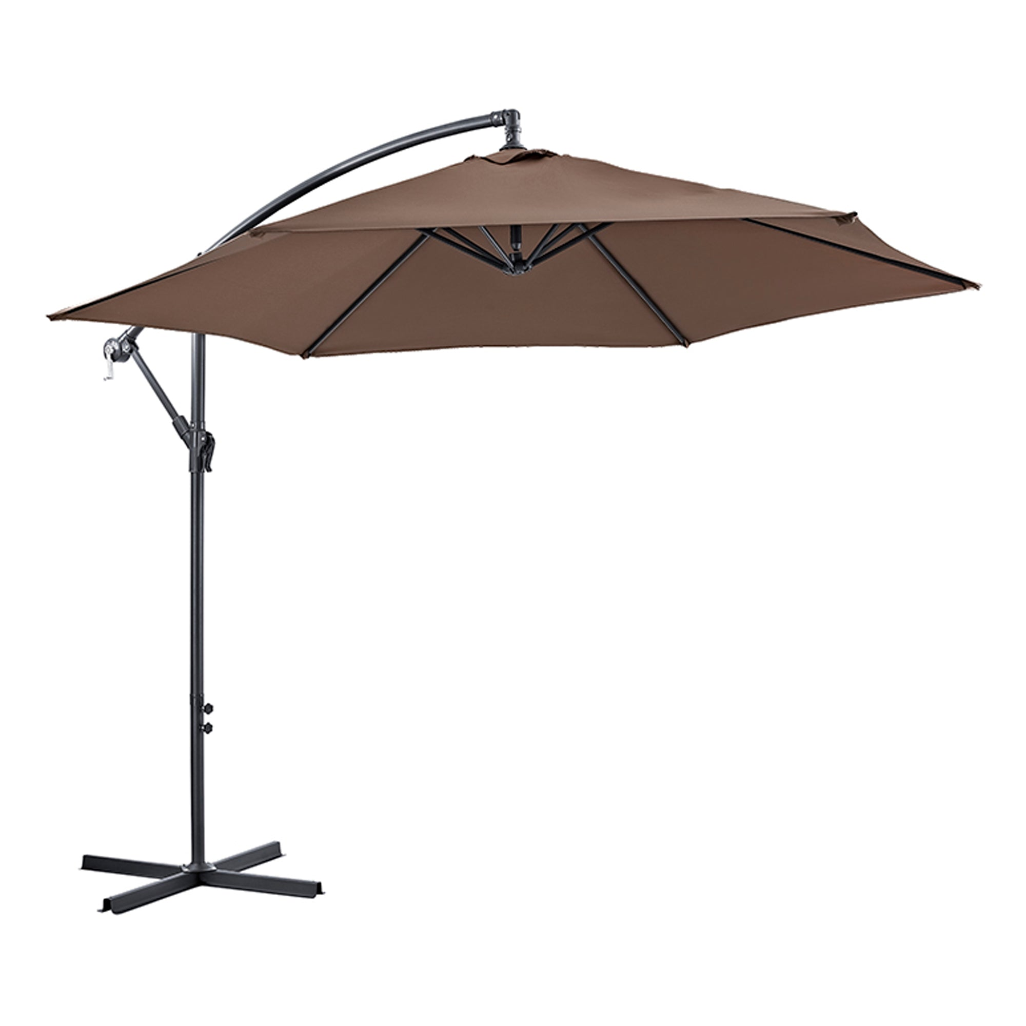 9 Foot Cantaliever Patio Umbrella, Brown
