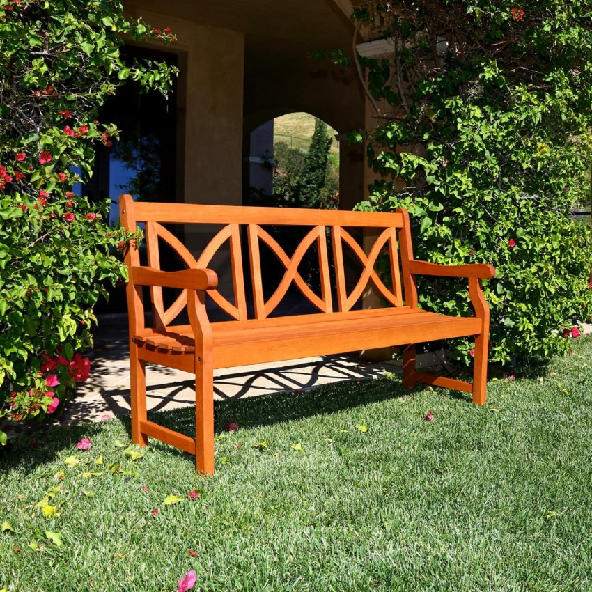5-Foot Outdoor FSC Eucalyptus Bench X-Back Design
