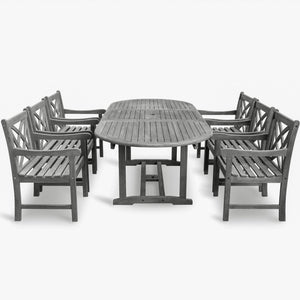 Renaissance Eco-friendly 7-piece Outdoor Hand-scraped Hardwood Dining Set with Oval Extention Table and Arm Chairs