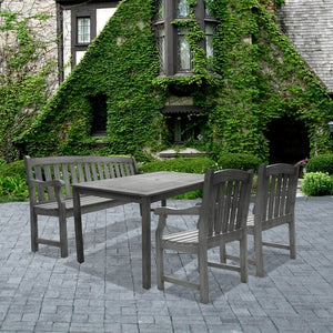 Renaissance Rectangular Table â??Bench-Armchair Outdoor Hand-scraped Hardwood Dining Set