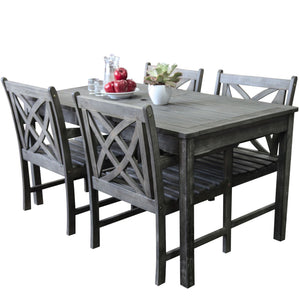 Renaissance Outdoor Patio 5-Piece Hand-Scraped Wood Dining Set