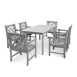 Renaissance Outdoor Patio 7-Piece Hand-Scraped Wood Dining Set