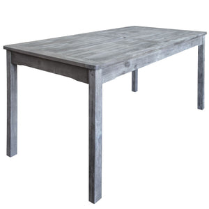Renaissance Outdoor Patio Hand-Scraped Wood Rectangular Dining Table