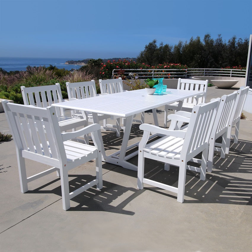 Bradley Eco-friendly 9-piece Outdoor White Hardwood Dining Set with Rectangle Extention Table and Arm Chairs