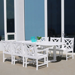 V1335Set11 Bradley Eco-Friendly 7-Piece Outdoor White Hardwood Dining Set With Oval Extension Table And Arm Chairs