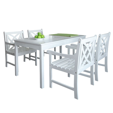 Bradley Outdoor Patio 5-Piece Wood Dining Set In White