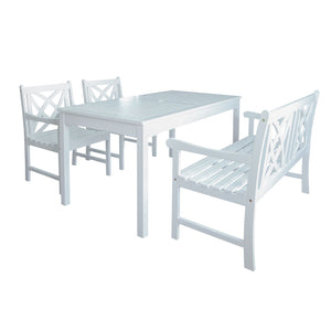 Bradley Outdoor Patio 4-Piece Wood Dining Set With 5-Foot Bench In White