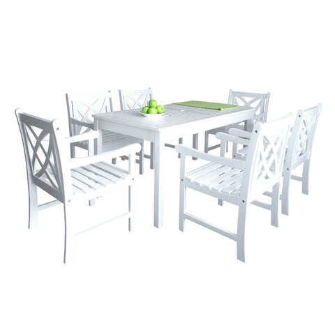 Bradley Outdoor Patio 7-Piece Wood Dining Set In White