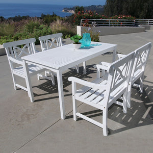 Bradley Rectangular Table & Armchair Outdoor Wood Dining Set 2