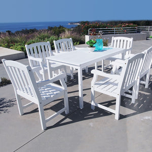 Bradley Rectangular Table & Armchair Outdoor Wood Dining Set 7