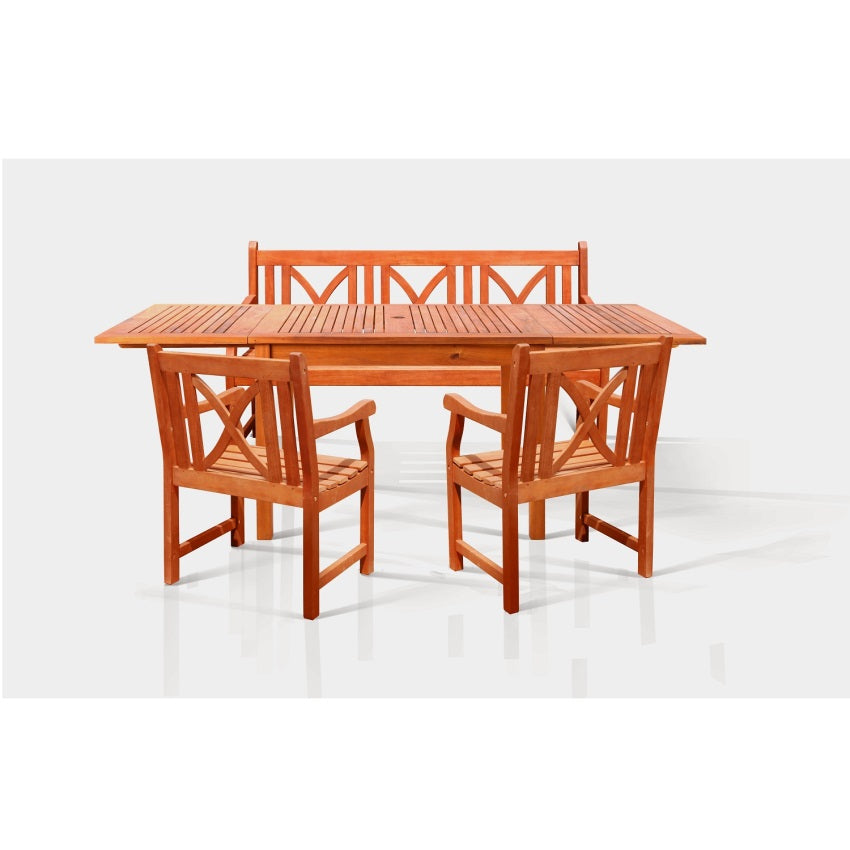 Sturdy and Large Dining Set with rectangular table, 3-seater bench and armchairs