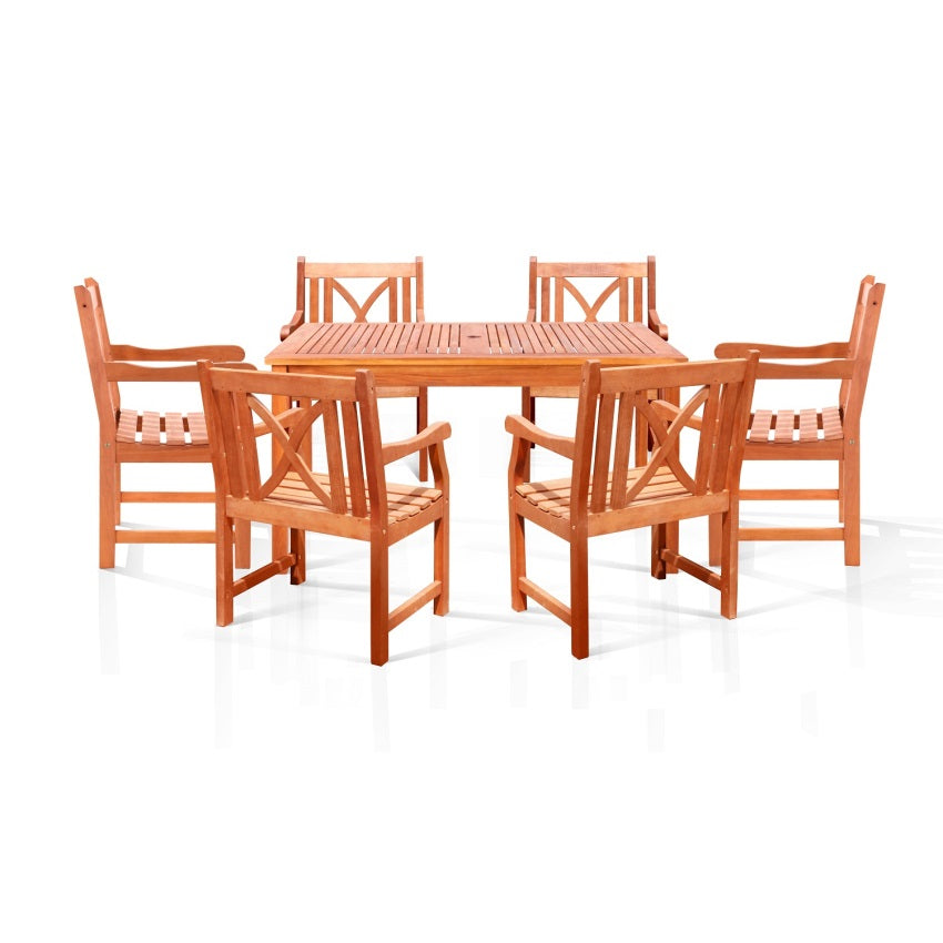 Sturdy and Large Dining Set with square table, and armchairs 13