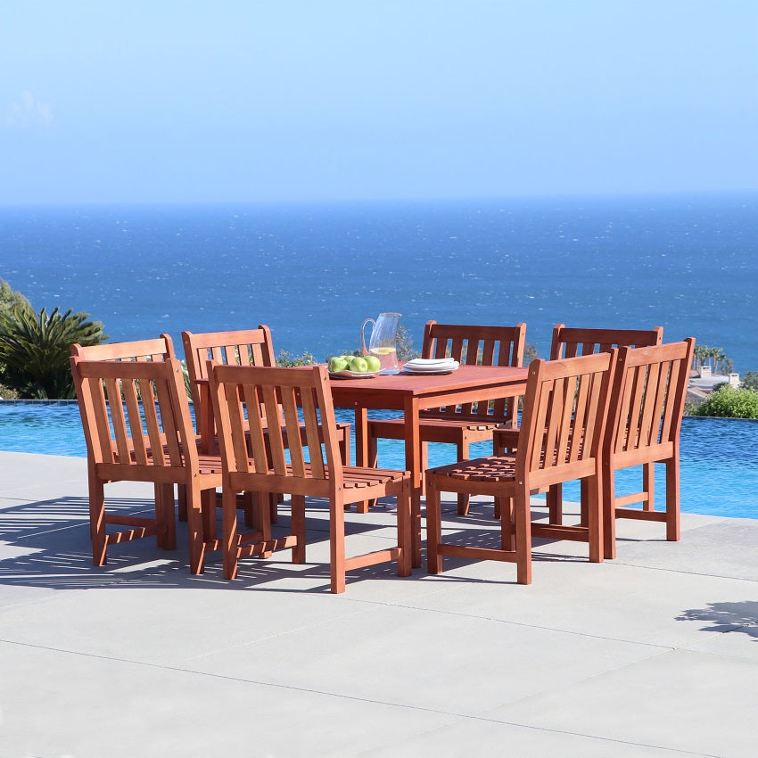 Eco-friendly 9-piece Outdoor Hardwood Dining Set with Square Table and Armless Chairs