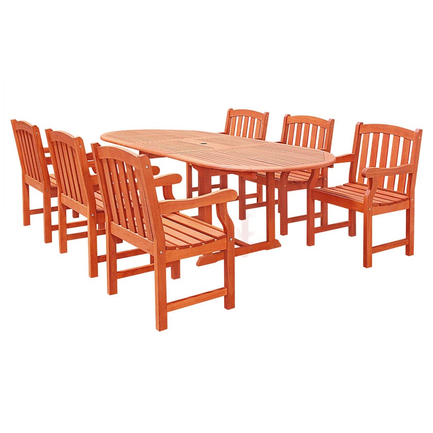 Oval Extension Table & Wood Armchair Outdoor Dining Set 22