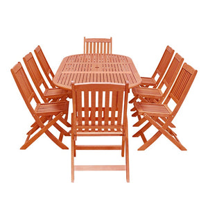 Eco-Friendly 9-Piece Wood Outdoor Dining Set with Oval Extension and Foldable Chairs V144SET26