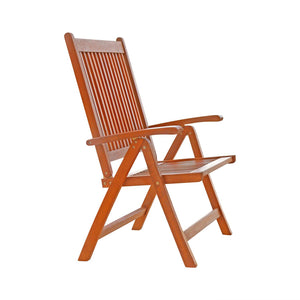 Outdoor Patio Wood 5-Position Reclining Chair