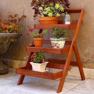 Wood Outdoor Three-Layer Plant Stand