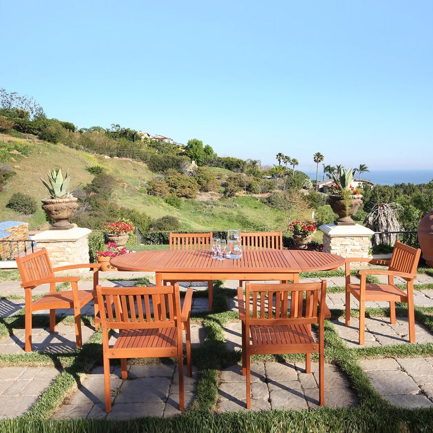 Eco-Friendly  7-Piece Wood Outdoor Dining Set with Stacking Chairs V1562SET7