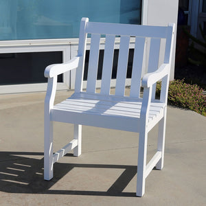 Bradley Eco-friendly Outdoor White Wood Garden Arm Chair