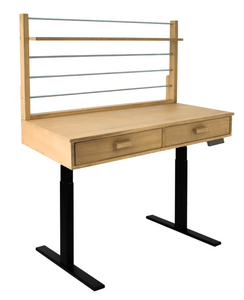 Sit to Stand Adjustable Height Potting Bench with Sand - Splashed Finish And Black Frame