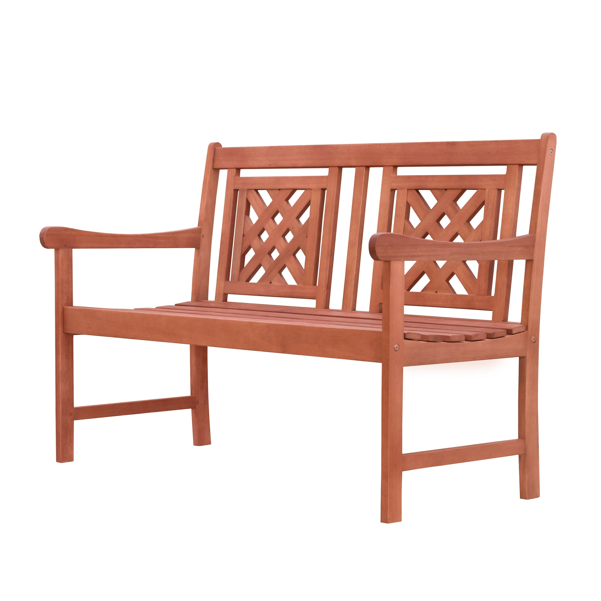 Outdoor Patio Plaid 4-foot Eucalyptus Hardwood Bench