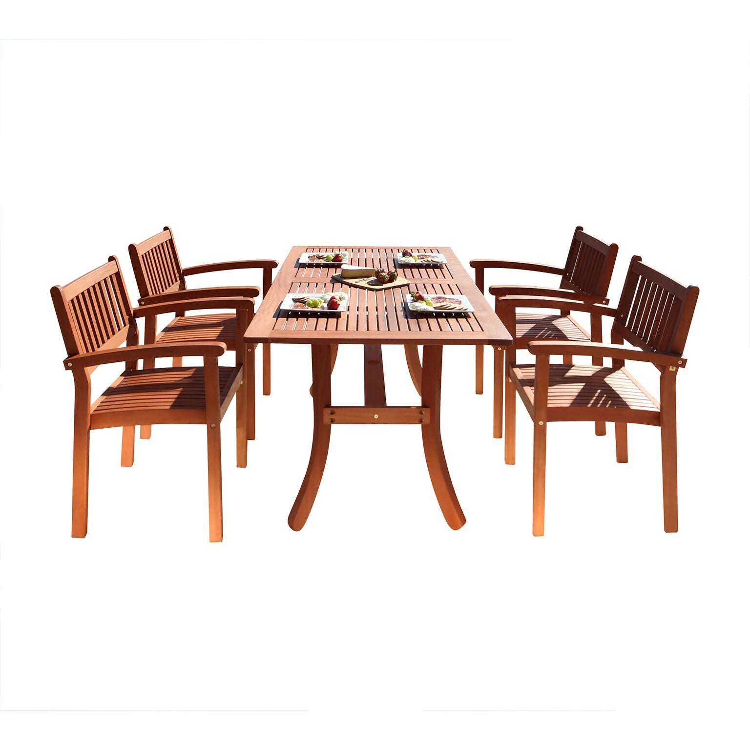 Outdoor Patio 5-Piece Wood Dining Set With Stacking Chairs