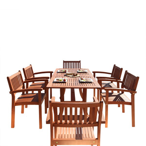 Outdoor Patio 7-Piece Wood Dining Set With Stacking Chairs