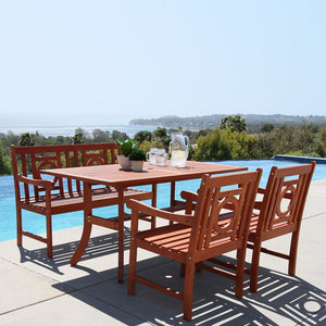 V189SET28  Eco-friendly 4-piece Outdoor Hardwood Dining Set with Rectangle Table, 4-foot Bench and Arm Chairs