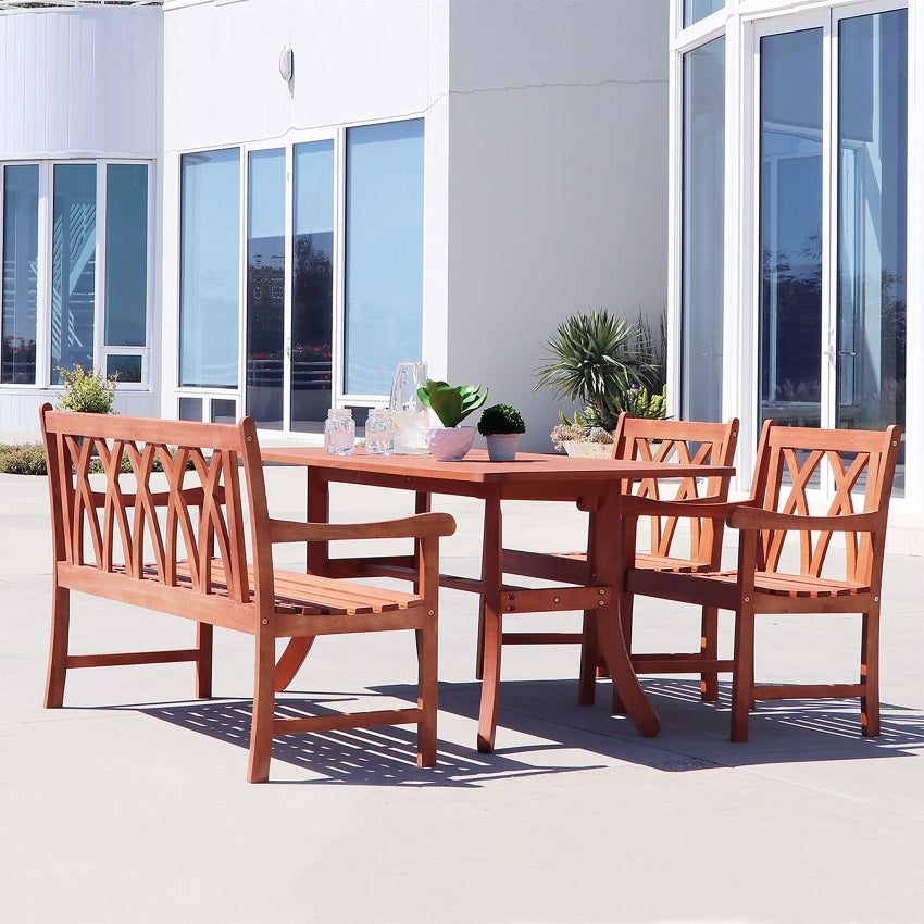 V189SET34  Eco-friendly 4-piece Outdoor Hardwood Dining Set with Rectangle Table, 4-foot Bench and Arm Chairs