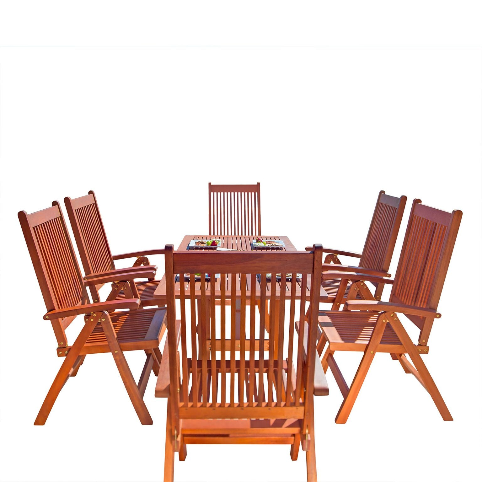 Outdoor Patio 7-Piece Wood Dining Set With Curvy Leg Table & Reclining Chairs
