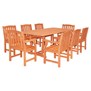 Rectangular Extension Table & Wood Armchair Outdoor Dining Set 21