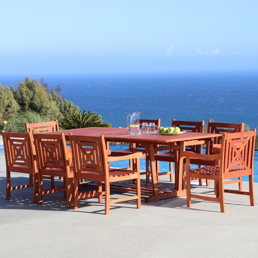 V232SET40  Eco-friendly 9-piece Outdoor Hardwood Dining Set with Rectangle Extension Table and Arm Chairs