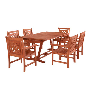 Outdoor 7-piece Wood Patio Extendable Table Dining Set