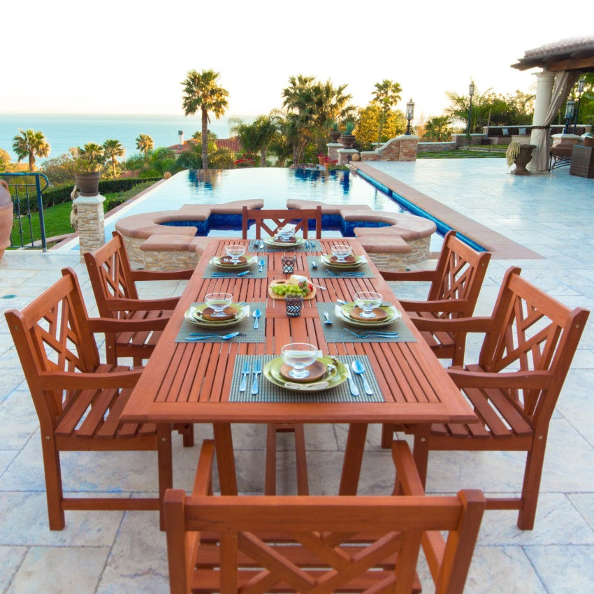 Eco-Friendly 7-Piece Wood Outdoor Dining Set with Rectangular Extension Table V232SET8