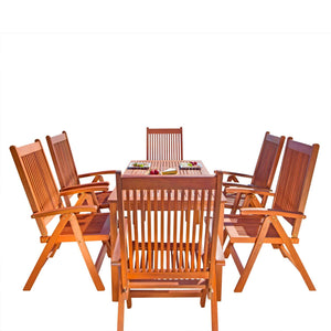 Outdoor Patio 5-Piece Wood Dining Set With Reclining Chairs