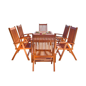 Outdoor Patio 7-Piece Wood Dining Set With Reclining Chairs