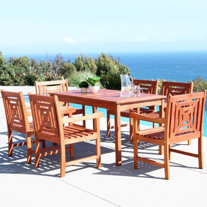 V98SET43  Eco-friendly 7-piece Outdoor Hardwood Dining Set with Rectangle Table and Arm Chairs