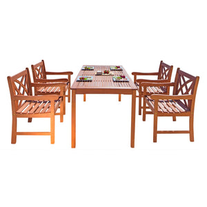 Outdoor Patio 5-Piece Wood Dining Set