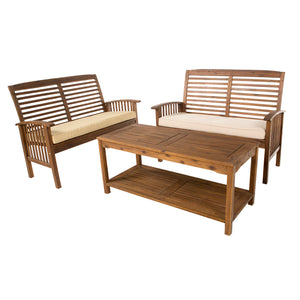 3-Piece Dark Brown Acacia Patio Conversation Set